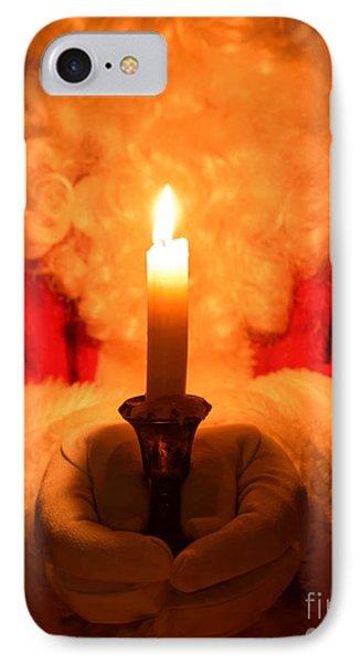 Santa Holding Candle IPhone Case by Amanda Elwell