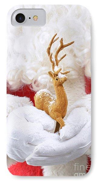 Santa Holding Reindeer Figure IPhone Case by Amanda Elwell