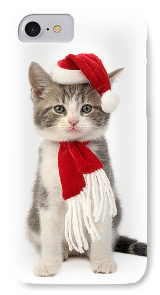 Santa Kitten IPhone Case by Greg Cuddiford