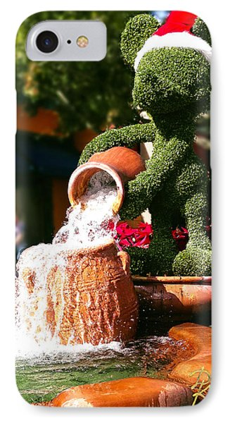 IPhone Case featuring the photograph Santa Mickey Topiary Fountain by Doug Kreuger