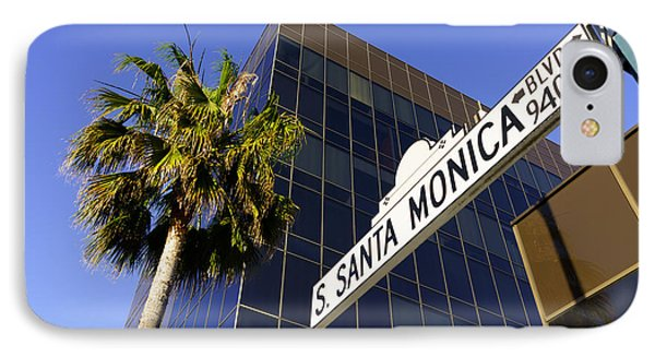Beverly Hills iPhone 7 Case - Santa Monica Blvd Sign In Beverly Hills California by Paul Velgos