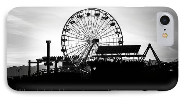 Santa Monica Ferris Wheel Black And White Photo IPhone 7 Case by Paul Velgos