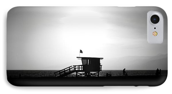 Santa Monica Lifeguard Tower In Black And White Phone Case by Paul Velgos