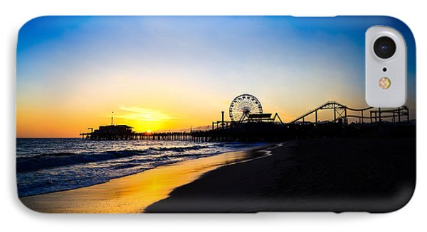 Santa Monica Pier Pacific Ocean Sunset Phone Case by Paul Velgos