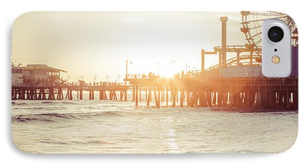 Santa Monica Pier Retro Sunset Panorama Photo IPhone Case by Paul Velgos