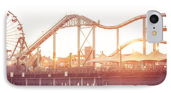 Santa Monica Pier Roller Coaster Panorama Photo IPhone 7 Case by Paul Velgos