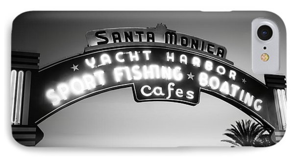 Santa Monica Pier Sign In Black And White Phone Case by Paul Velgos