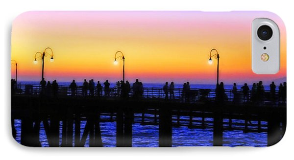 Santa Monica Pier Sunset Silhouettes IPhone Case by Lynn Bauer