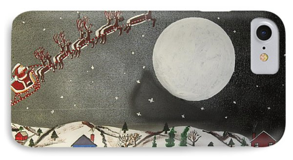 IPhone Case featuring the painting Santa Over The Moon by Jeffrey Koss