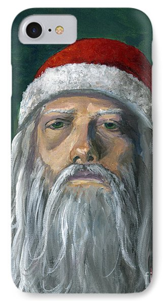 Santa Portrait Art Red And Green IPhone Case