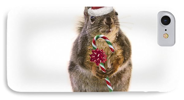 Santa Squirrel And Candy Cane IPhone Case by Peggy Collins