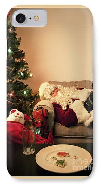 Santa Takes A Nap IPhone Case by Diane Diederich