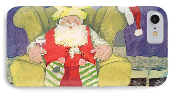 Santa Warming His Toes  IPhone Case by David Cooke