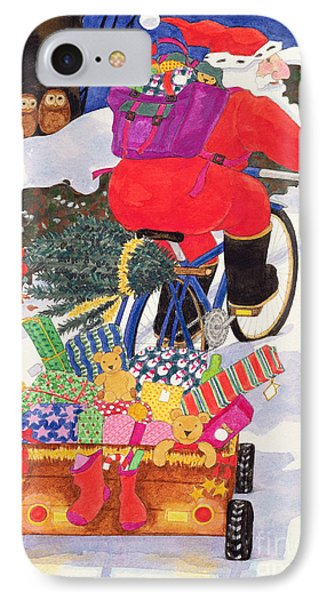 Santas Bike Phone Case by Linda Benton