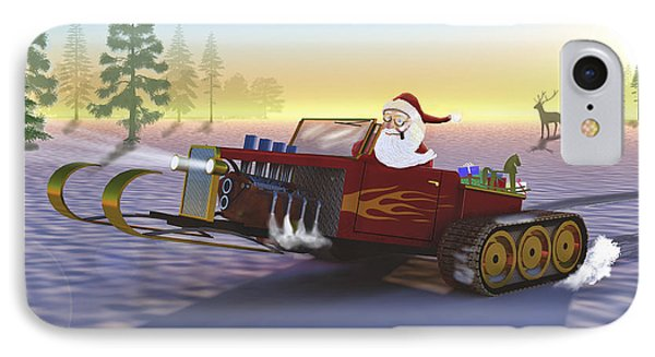 Santa's New Sleigh IPhone Case by Ken Morris