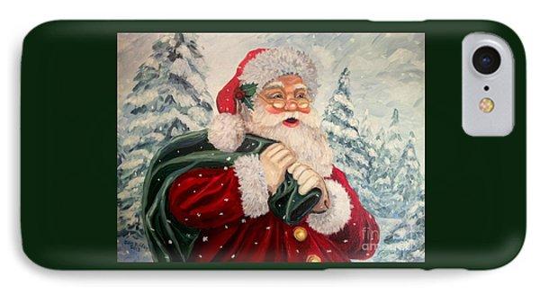 Santa's On His Way IPhone Case by Julie Brugh Riffey