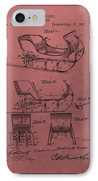 Santa's Sleigh Patent 1897 IPhone Case by Dan Sproul