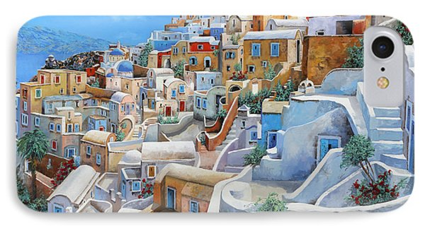 Santorini A Colori IPhone Case by Guido Borelli