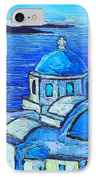 Santorini  Blue IPhone Case by Ana Maria Edulescu