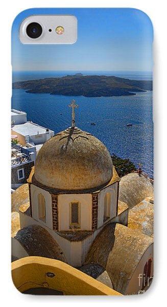 Santorini Caldera With Church And Thira Village IPhone Case by David Smith