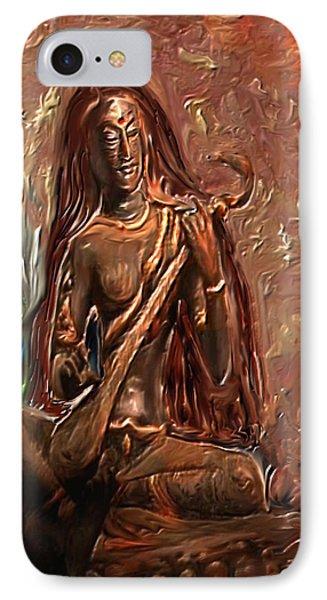 Saraswati Playing Veena IPhone Case by Shubnum Gill