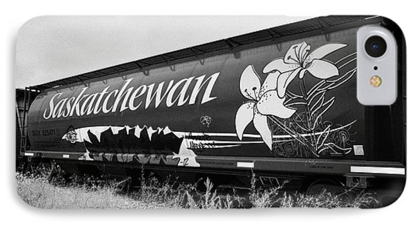saskatchewan freight grain trucks on canadian pacific railway Saskatchewan Canada IPhone Case by Joe Fox