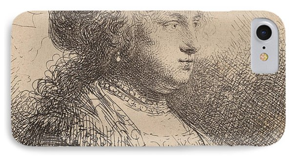 Saskia With Pearls In Her Hair IPhone Case by Rembrandt