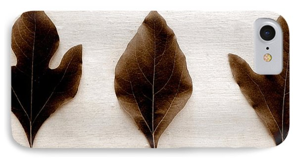 Sassafras Leaves In Sepia Phone Case by Michelle Calkins