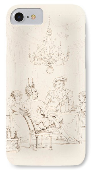 Satan And Three Men At A Table IPhone Case by Auguste Hervieu