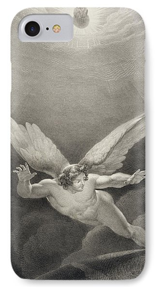 Satan Leaps Over The Walls Of Heaven IPhone Case by Richard Edmond Flatters