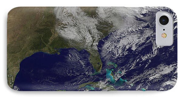 Satellite View Of A Noreaster Storm IPhone Case by Stocktrek Images