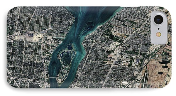 Satellite View Of Detroit River IPhone Case