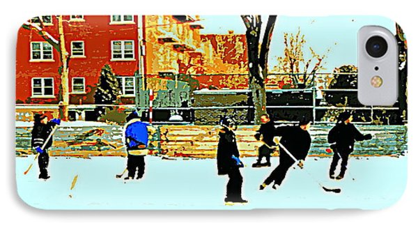 Saturday Afternoon Hockey Practice At The Neighborhood Rink Montreal Winter City Scene Phone Case by Carole Spandau
