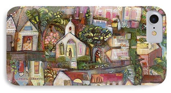 Saturday Beach Town Folk Landscape IPhone Case by Jen Norton