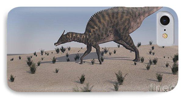 Saurolophus Walking Across A Barren Phone Case by Kostyantyn Ivanyshen
