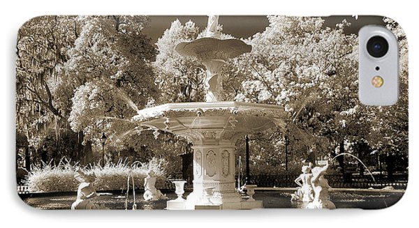 Savannah Georgia Fountain - Forsyth Fountain - Infrared Sepia Landscape IPhone Case