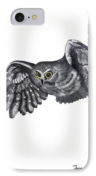 IPhone Case featuring the drawing Saw-whet Owl by Terry Frederick