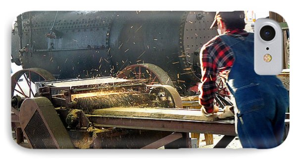 IPhone Case featuring the photograph Sawmill Planer In Action by Pete Trenholm