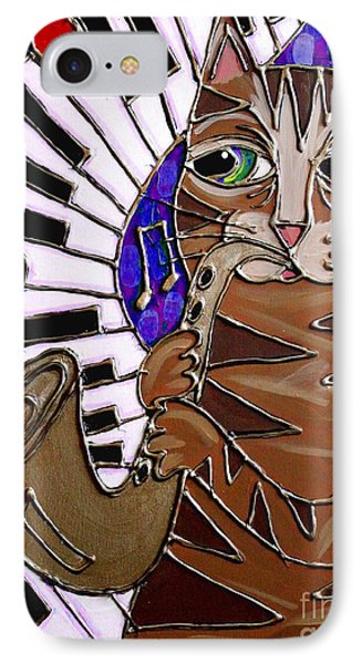 Sax Cat 2 IPhone Case by Cynthia Snyder