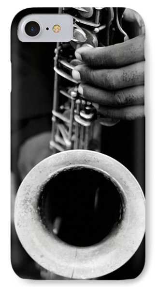 IPhone 7 Case featuring the photograph Sax Player by Dave Beckerman