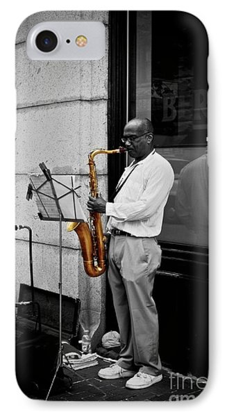IPhone Case featuring the photograph Sax Player  by Sarah Mullin