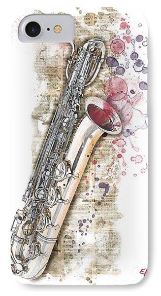 Saxophone 01 - Elena Yakubovich IPhone Case by Elena Yakubovich