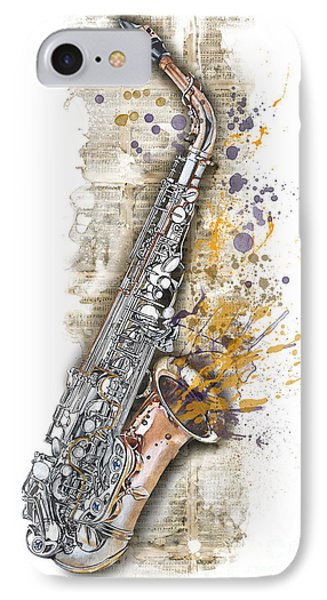 Saxophone 02 - Elena Yakubovich IPhone Case by Elena Yakubovich