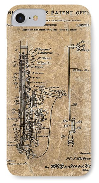 Saxophone Patent Design Illustration IPhone 7 Case by Dan Sproul