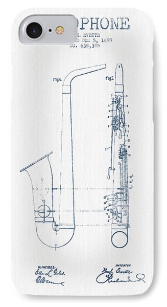 Saxophone Patent Drawing From 1899 - Blue Ink IPhone Case by Aged Pixel
