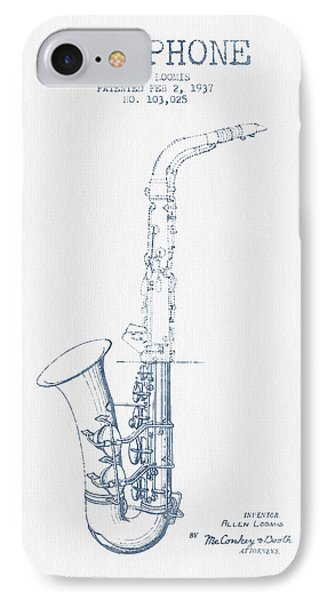 Saxophone Patent Drawing From 1937 - Blue Ink IPhone Case by Aged Pixel