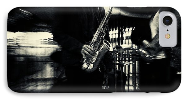 Saxophone Player In New York City IPhone Case by Sabine Jacobs