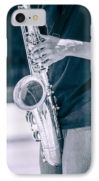 Saxophone Player On Street Phone Case by Carolyn Marshall