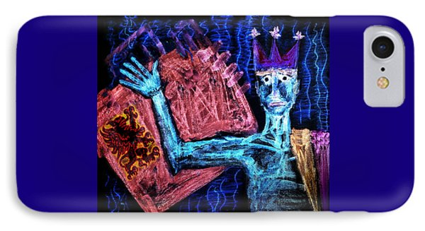 IPhone Case featuring the painting Scared  King by Hartmut Jager