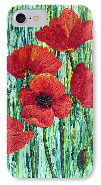 IPhone Case featuring the painting Scarlet Blooms by Susan DeLain